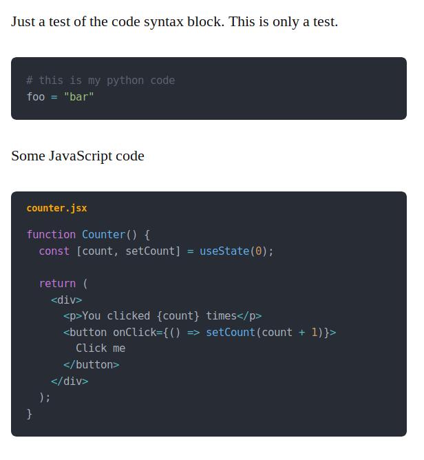 Code Syntax Plugin Screenshot