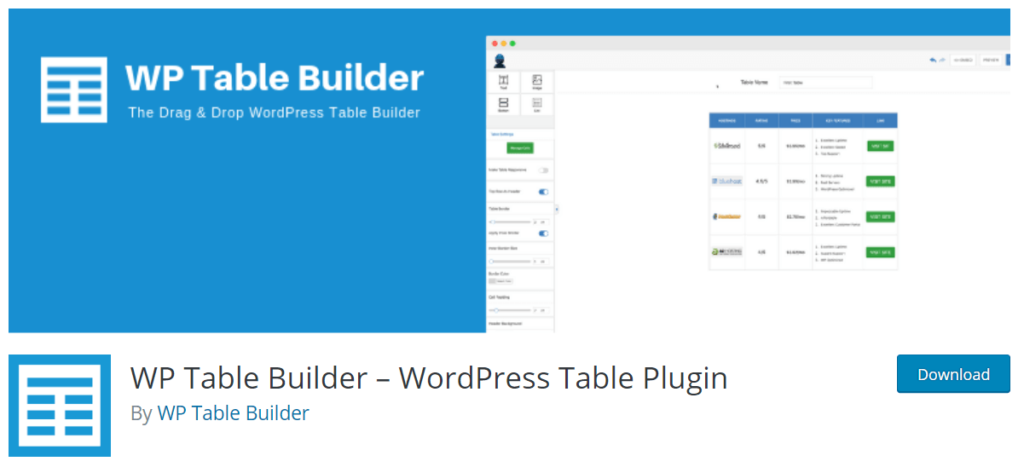 WP Table Builder – WordPress Table Plugin