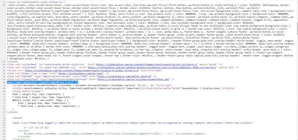 WordPress Version In Header Section
